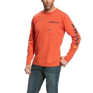 Ariat Men's ''Rebar Workman Logo'' Long Sleeves Work Shirt - Volcanic Fire
