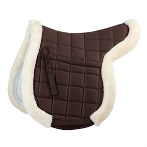 Horze Ventilated Shaped Pad with Faux Fur Trim - Brown