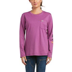 Ariat Ladies Rebar Workman Logo Work Shirt - Purple Potion