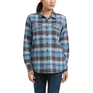 Ariat Ladies Rebar Flannel DuraStretch Work Shirt - Charcoal Grey