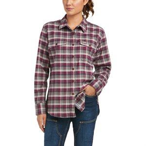 Ariat Ladies Rebar Flannel DuraStretch Work Shirt - Purple Potion